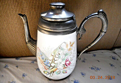 Aafa Antique Pewter Mounted Decorated Graniteware Enamelware Tall Teapot