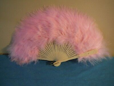 Fancy Pink Handheld Feather Folding Fan Halloween Showgirl Dance