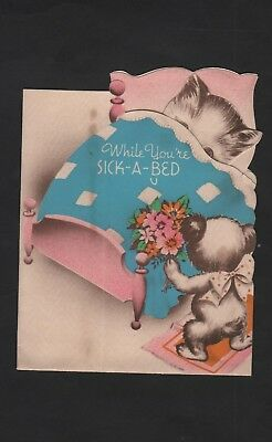 vintage 1943 Stanley pop-up Greeting Get Well Card sleep Kitten Sick-A-Bed Bear