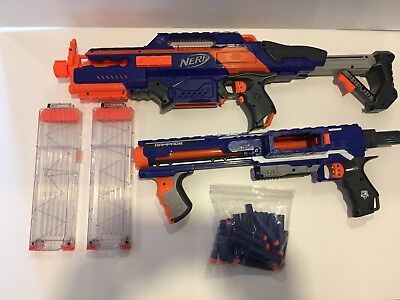 Lot Of Nerf Rapidstrike Cs-18 + Elite Nerf Rampage + 2 Magazines + Elite Darts