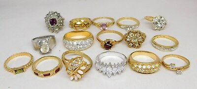 Hi Quality Vintage Rings Lot Some Crystal Rhinestone Cocktail Gold Plated #165