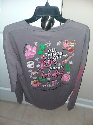 NWOT Simply Southern Long Sleeve T Shirt Women's Christmas Holiday Large L