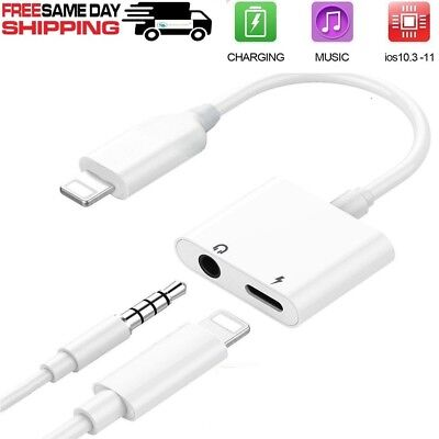 2in1 iPhone Audio Splitter Lightning Adapter Charger 3.5mm AUX Earphone 7 8 X Pl