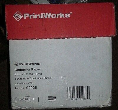 """PrintWorks 2,500 Perforated Continuous Sheets, Office Printer Paper, 9 1/2""""x11"""""""