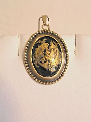 ON SALE--VINTAGE BLACK/GOLD PORCELAIN ZODIAC PENDANT-PISCES. ag