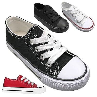 New Lace Up Low Top Canvas Toddler Baby Boys Or Girls Shoes SZ-4-9