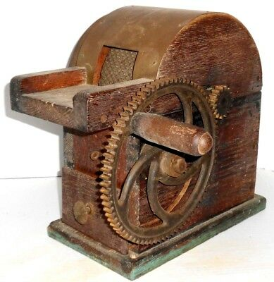 Antique Vintage Counter Top Cheese Grater with crank, wooden box and iron gears