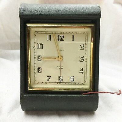 Vintage Working Perfect Large Size Smiths Travel Alarm Clock Folding