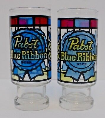 Pabst Blue Ribbon Simulated Stained Glass Looking Glasses Retro COOL