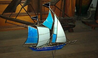 Stain Glass Sail Boat - 35cms long