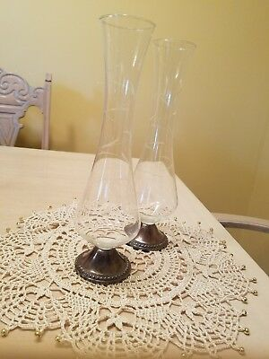 Set Of 2 Vintage Duchin Etched Glass Bud Vase With .925 Sterling Silver Base