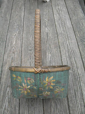 Vintage or Antique? Tall handled Painted basket Sally Patchin?