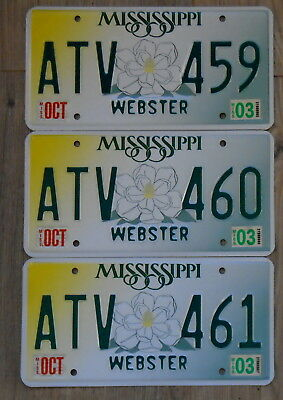 MISSISSIPPI Magnolia Webster County Sequential License Plate LOT of THREE ATV
