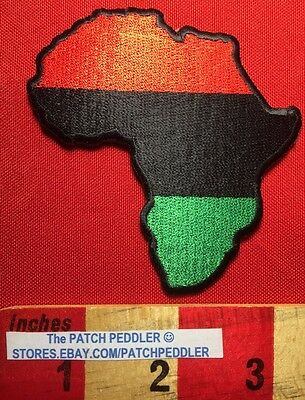 PAN-AFRICAN AFRICA MAP Patch NATION Afro-Liberation Color Red Black Green 61GG