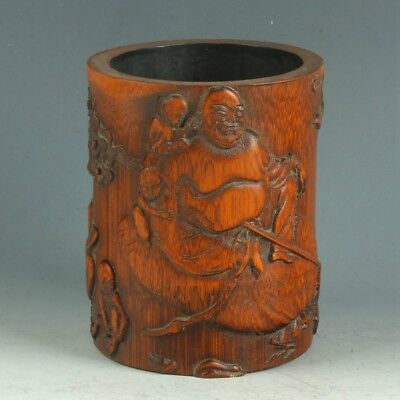 Chinese Exquisite Bamboo Wood Handwork Carved People & Bird Brush Pot MY0417