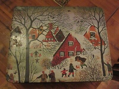 Arnott's French Art 'Snow Scene', 900g Collectable Vintage Biscuit Tin, c.1979