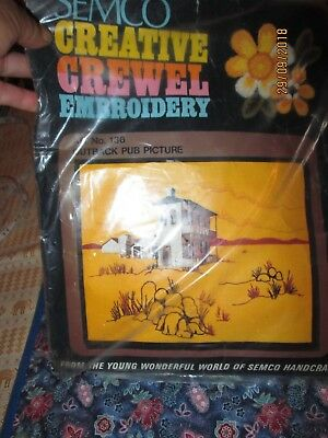 "SEMCO CREATIVE CREWEL Embroidery KIT-No.136-OUTBACK PUB Picture.23 x 30"" 58 x 76"