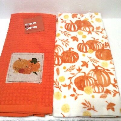 (2) Fall Hand Towel with Pumpkin design Thanksgiving Kohl's NEW