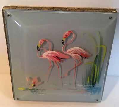 Vintage Hand Painted Fifth Rex Avenue Compact Unused Flamingos Collection