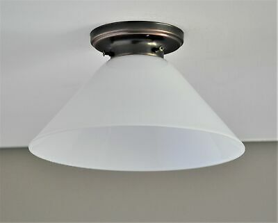 Batten Fix-White Coolie Shade-Bronze Ceiling Light-Art Deco Flushmount Fitting
