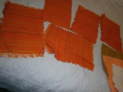 Vintage Lot Of Orange Retro Cloth Placemats, Serviettes & Doilies