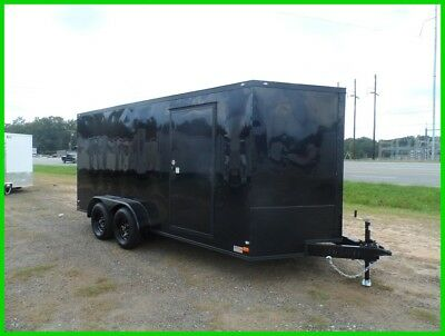 7x16 2' v nose Blackout 16ft inside enclosed cargo motorcycle trailer Black out