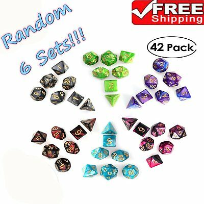PBPBOX 42pcs Polyhedral Dice for Dungeons Dragons DND RPG D20 D12 D10 D8 D6 Game