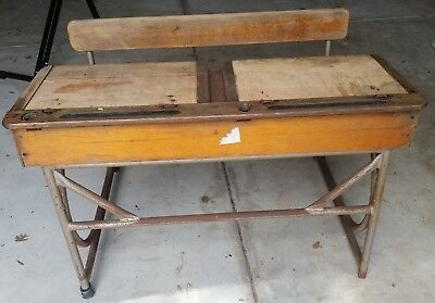 Vintage School Desk - Wood and steel - old fashioned, antique