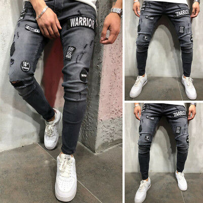 Fashion Men's Ripped Skinny Zipper Jeans Frayed Slim Fit Denim Pants Trouses