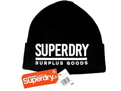 Superdry Men's Surplus Goods Logo Beanie BLACK WHITE NWT M90005DP OSFA