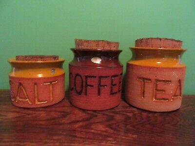 Set of 3 Florenz Canisters 1970s Corked Earthenware Australia Handmade Yellow