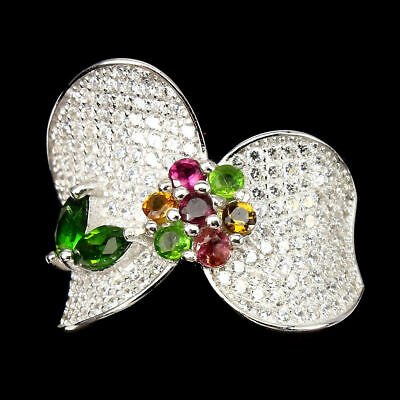 Deluxe Marquis Cut Chrome Diopside Tourmaline 925 Sterling Silver Ring Size 6/M