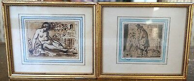 Pair of Framed late 18th Century French Miniature drawings
