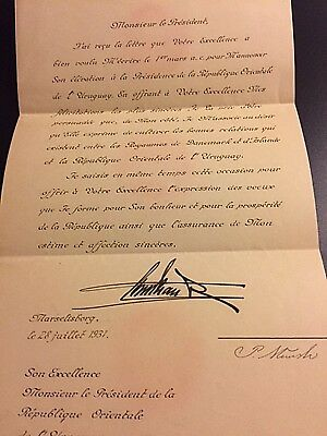 Rare King Christian X of Denmark signed 1931 Document w Wax Seal on Envelope