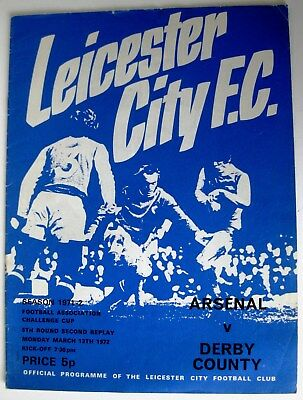 Arsenal v Derby County 1971/72 FA. Cup Round 5 2nd. Replay programme.