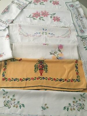Bundle of 8 Vintage Cross Stitch Hand Embroidery Cloths Pair Pillowcases Runners