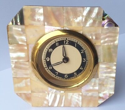 Rare Watch / Table Clock, Mother of Pearl, Germany, um 1920 L337
