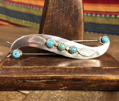 signed native american long turquoise leaf sterling silver hair clip barrette