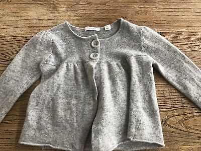 Girls Country Road Grey Wool Cardigan Size 7