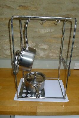 Stainless Steel Saucepan and pot rack, excellent condition