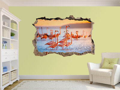 Pink flamingos at sunset photo Hole in wall sticker wall mural (101094840)