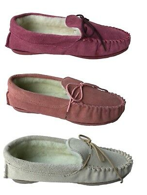 Genuine Suede Moccasin Slippers Sizes 3 - 8 Ladies Pink Plum Beige UK
