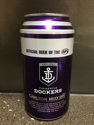 1 X 375ml Carlton Mid Freo Dockers 2018 Beer Can - Painted