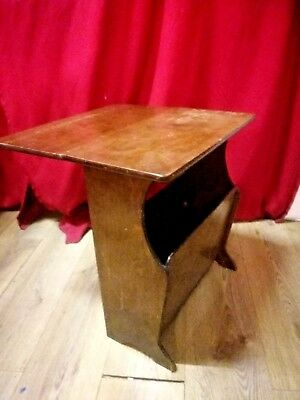 Antique/Edwardian Occasional drop leaf side table integrated magazine/paper rack