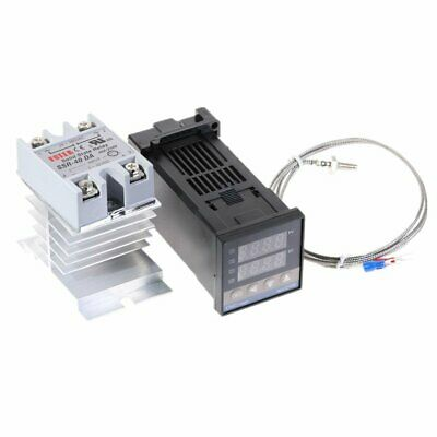 Digital 220V PID REX-C100 Temperature Controller SSR-40A Thermocouple Heat Sink