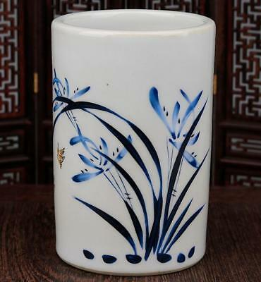 china old handmade famille-rose porcelain hand painted  orchid brush pot  b02