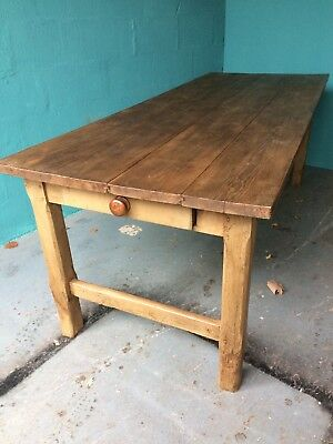 French Antique Farmhouse Table Solid Oak With Drawer To One End Plank Top