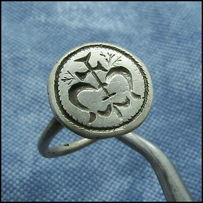 """ C R O S S  between  D O L P H I N S ""  ANCIENT SILVER BYZANTINE RING !!!"