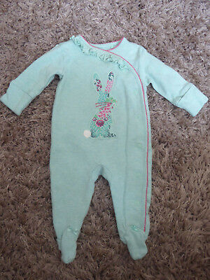 NEXT 2 x Baby Girls Ditsy Bunny & Floral Sleepsuits Playsuit Newborn 1 Month