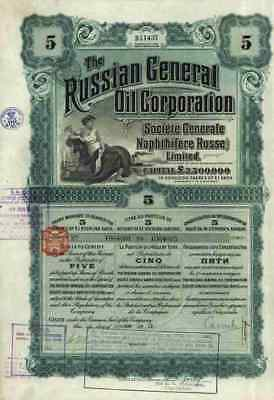 Russian General Oil Corporation Generale Naphthifere Russe Limited 1912 Cupons